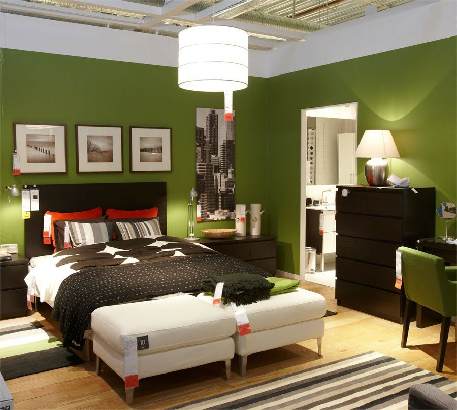 IKEA Bedroom with green walls
